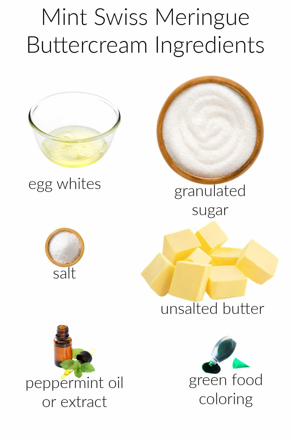 Collage of ingredients for making mint swiss meringue buttercream.