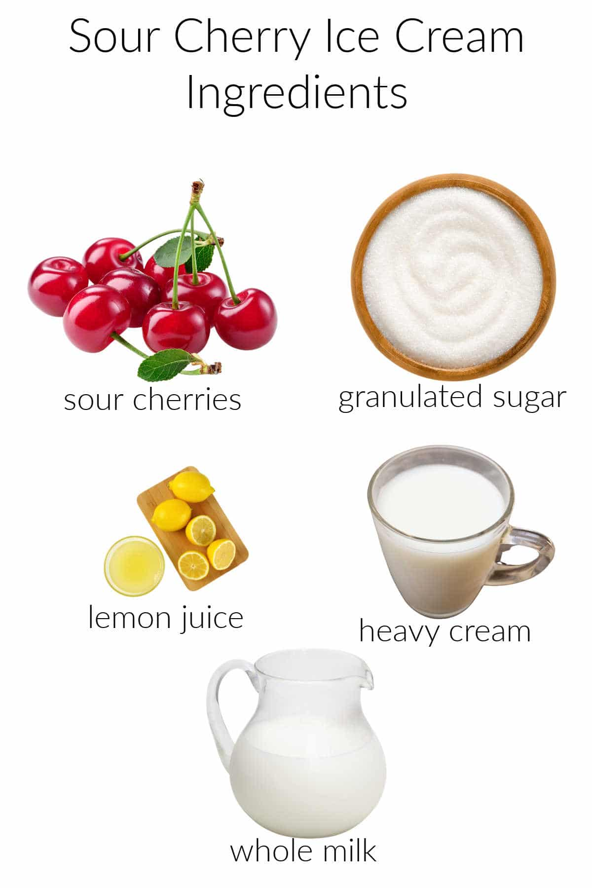 Collage of ingredients for making sour cherry ice cream.