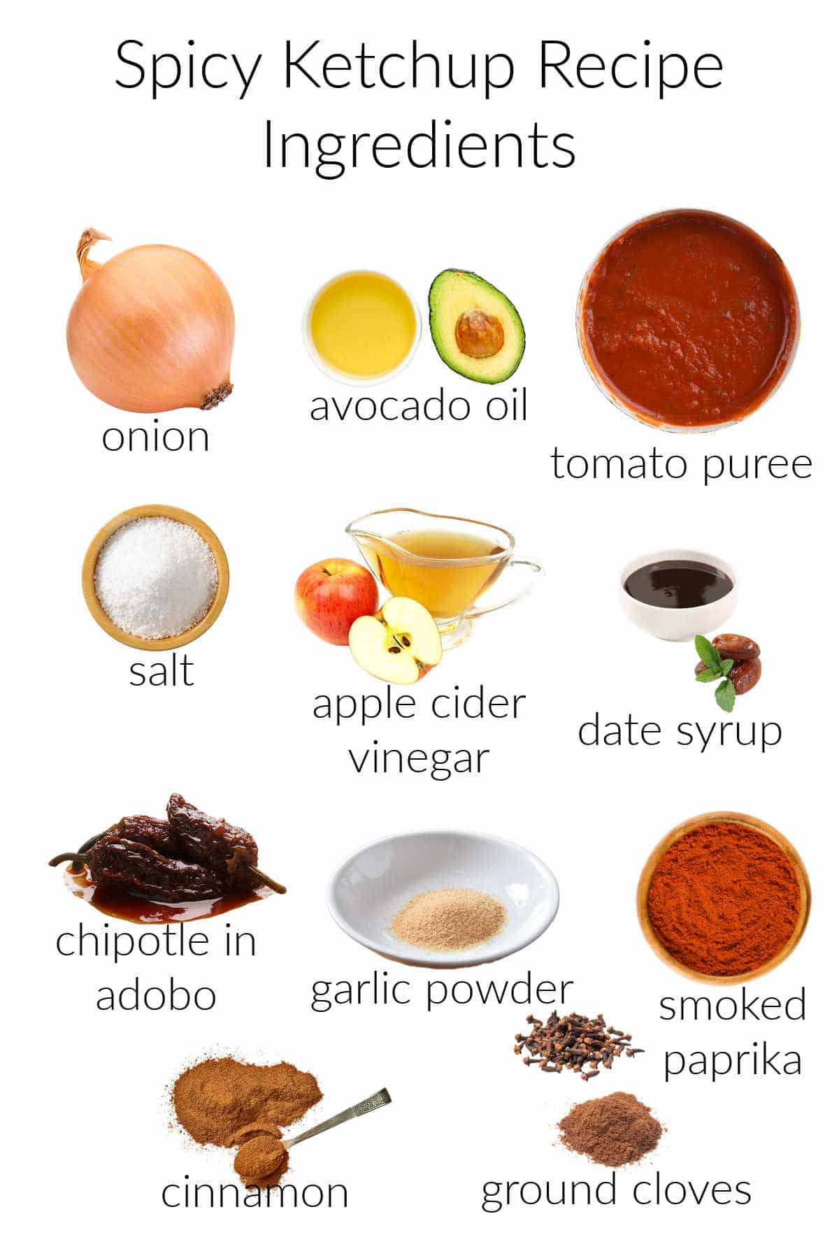 Collage of ingredients needed for making spicy whole 30 ketchup.
