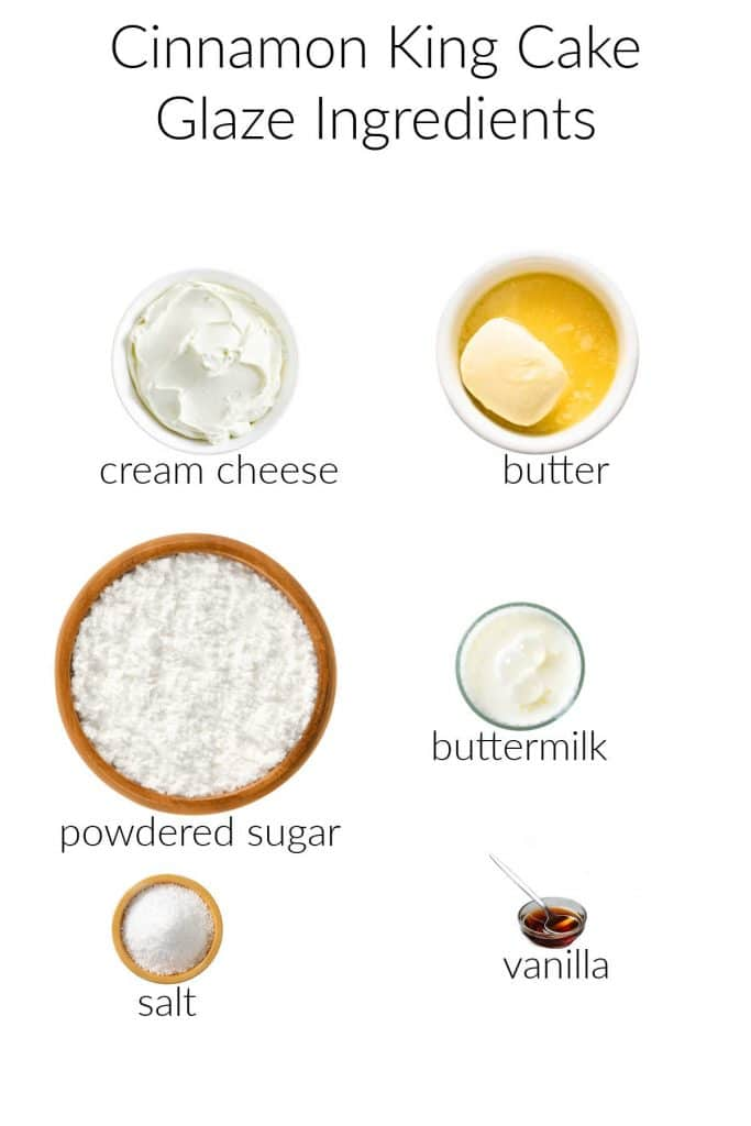 Collage of cream cheese glaze ingredients for the cinnamon King Cake.
