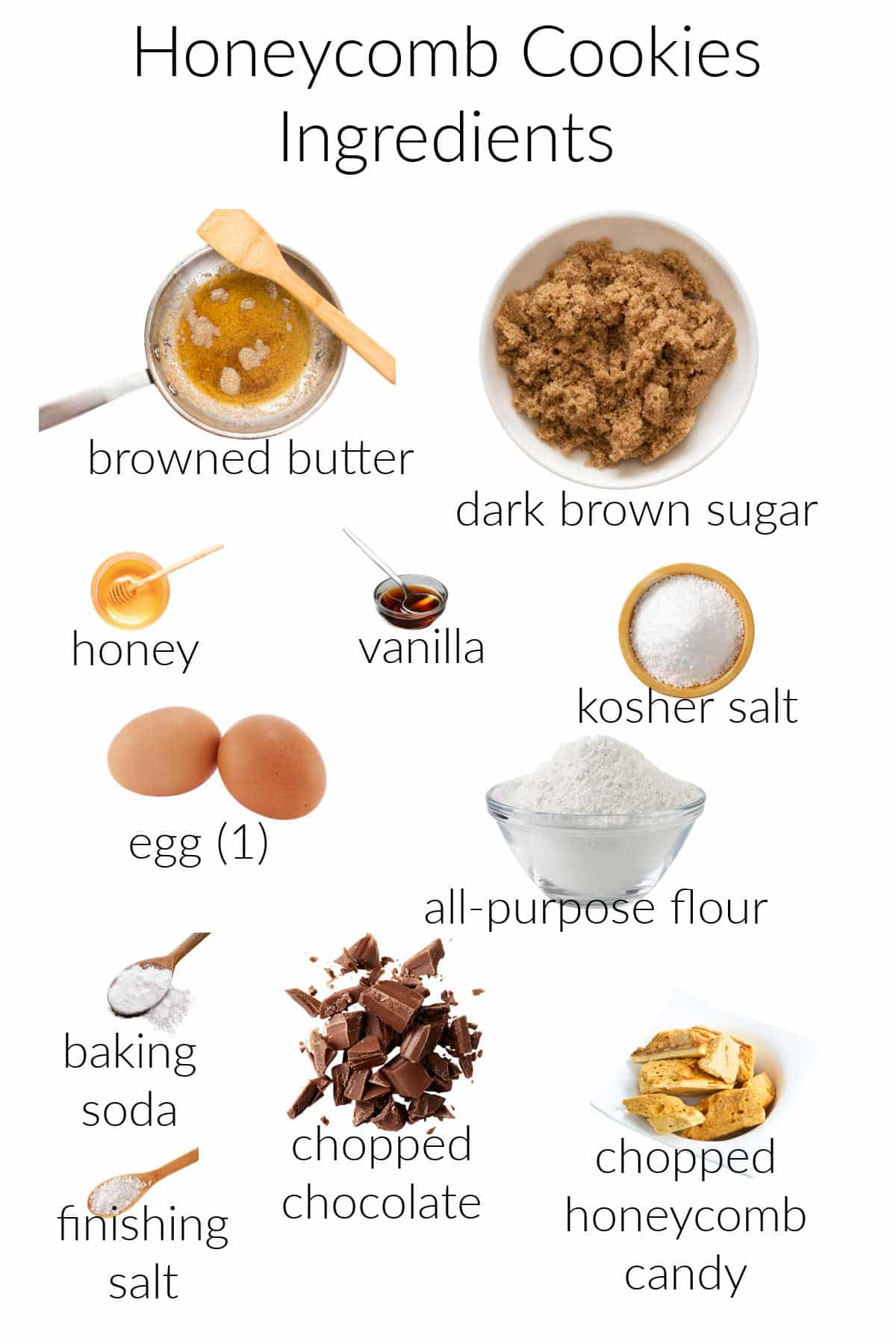 Collage of ingredients needed for making chocolate honeycomb cookies.