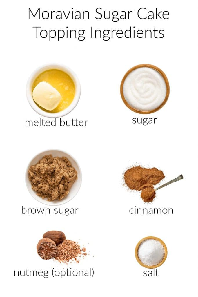 Collage of ingredients for Moravian sugar cake topping.