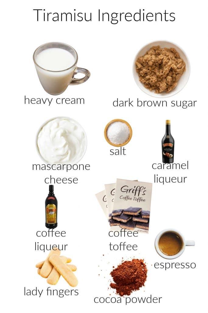 Collage of ingredients for making tiramisu without eggs.