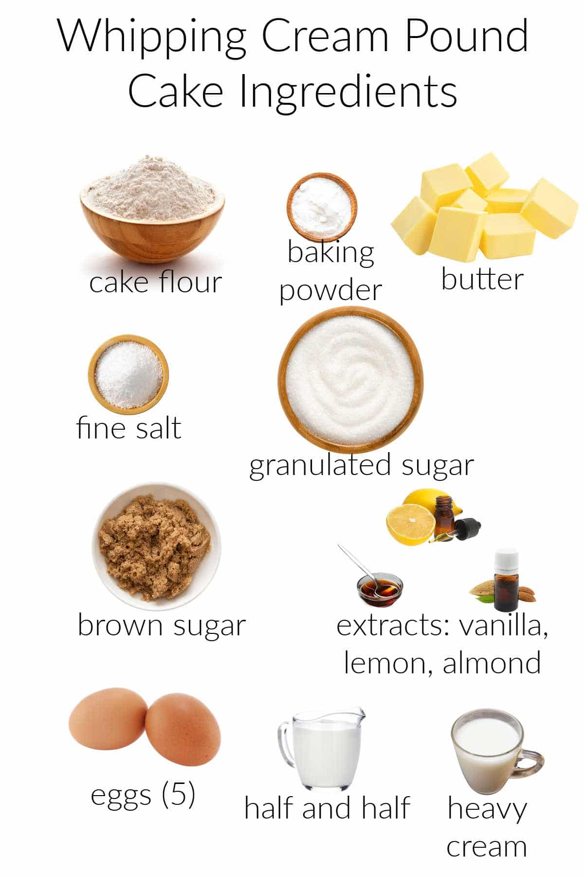 Collage of ingredients for making whipping cream pound cake.