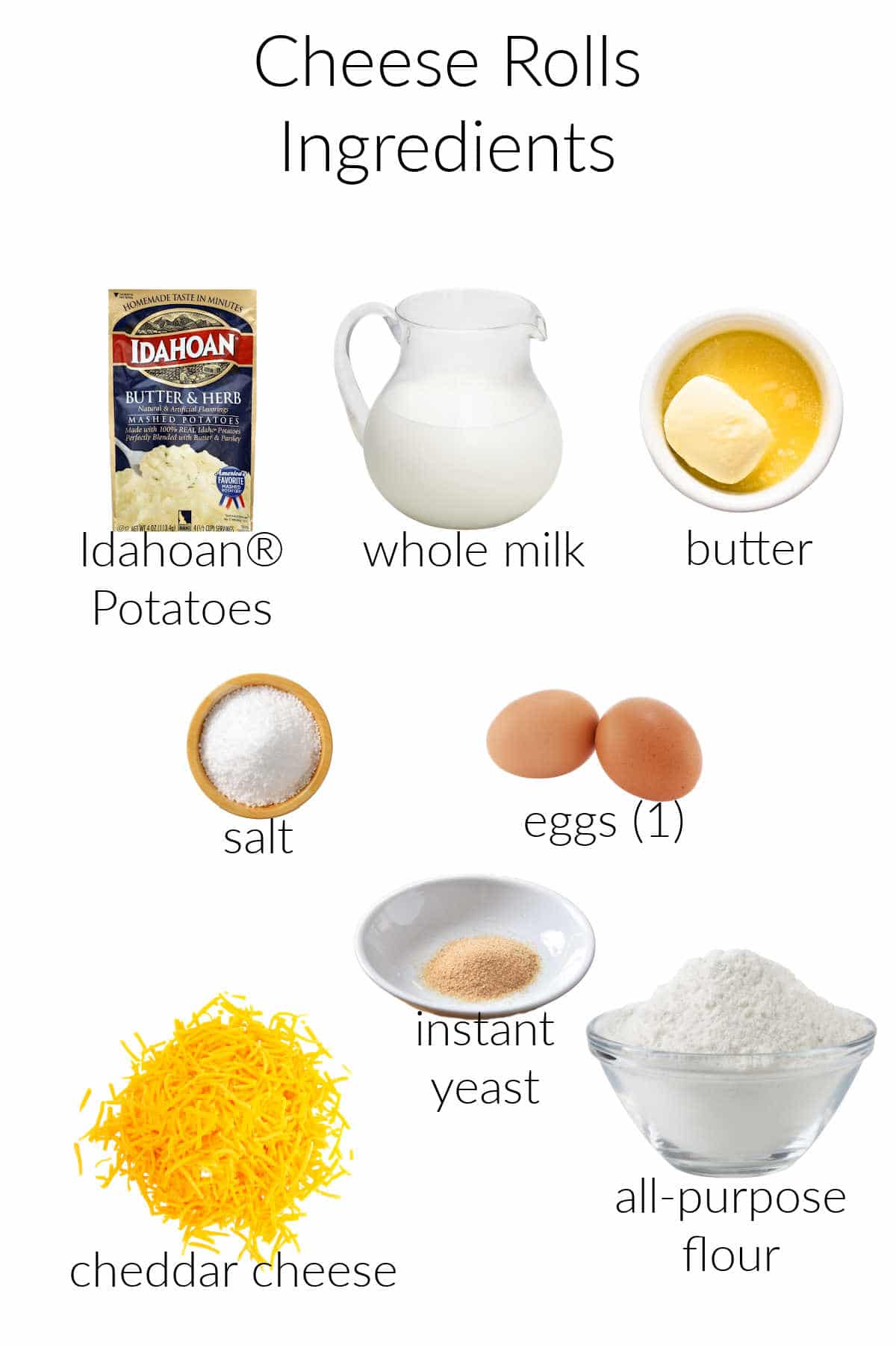 Collage of ingredients for making cheese rolls.