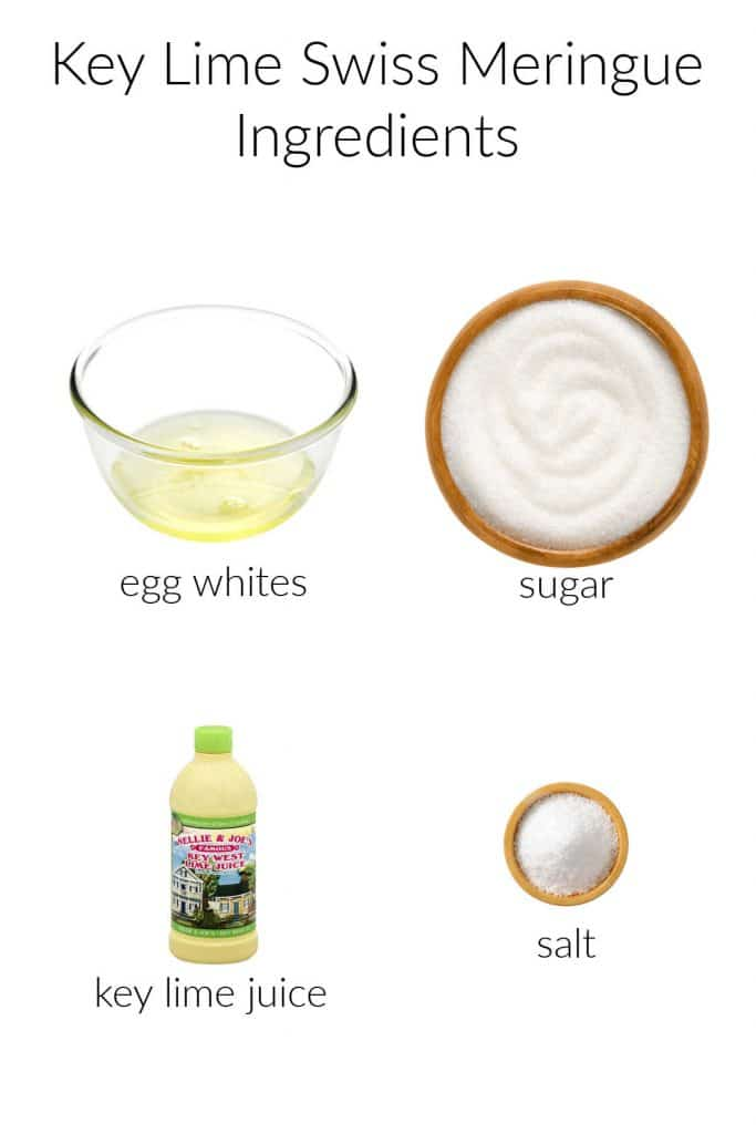 Collage of ingredients for making key lime Swiss meringue.