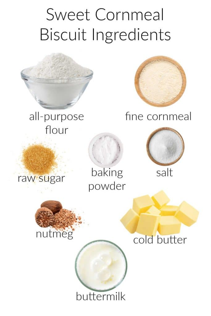 Collage of ingredients for making sweet cornmeal biscuits.