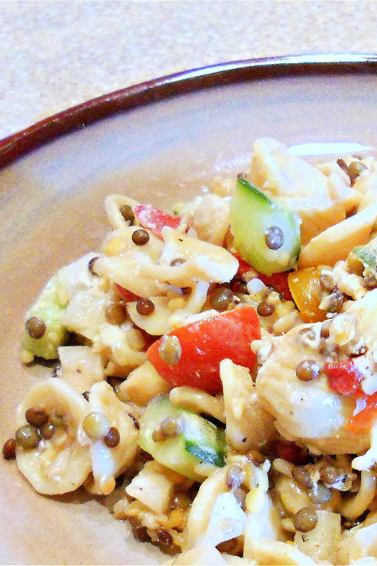 A Closeup view of pasta salad with lentils, chickpeas, and tomatoes on a plate.