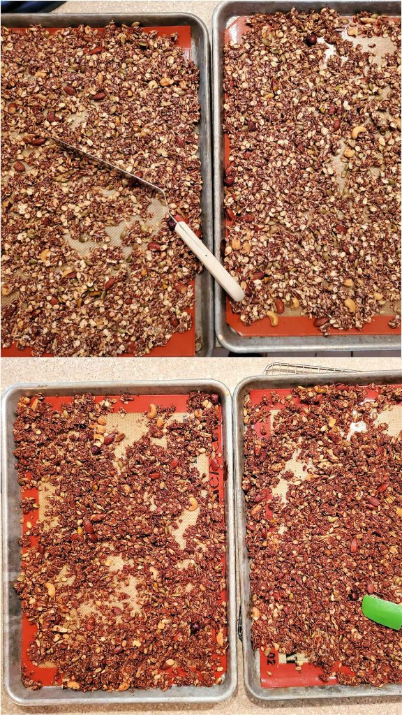 Vertical collage of 2 images showing oats and nuts before baking and after baking.