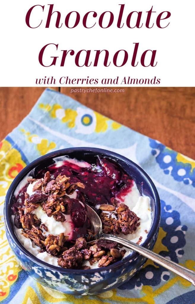 """Bowl of yogurt and granola. Text reads """"Chcolate Granola with cherries and almonds."""""""