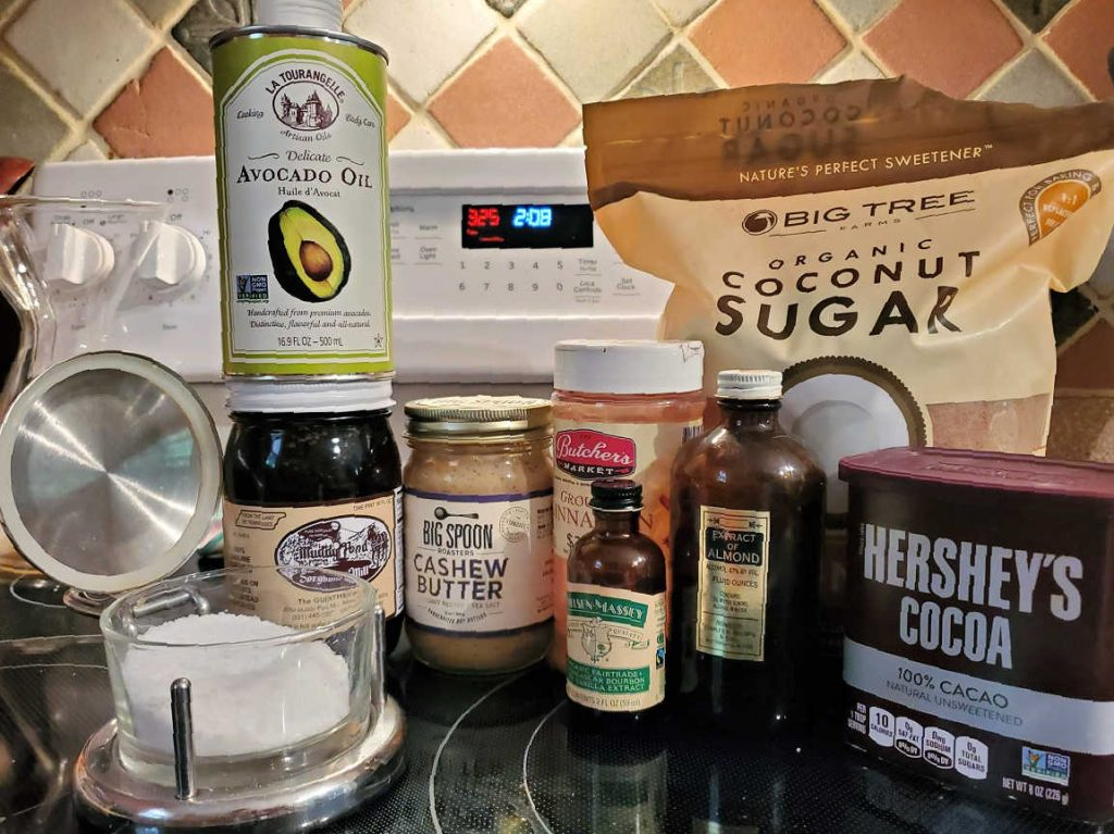 Wet ingredients needed for making chocolate granola.