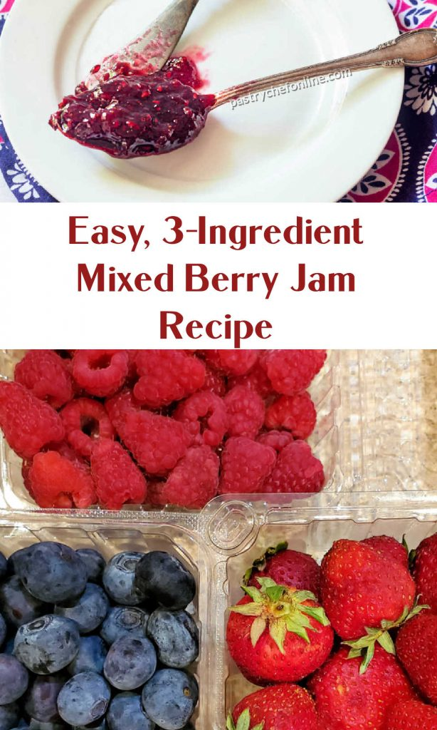 """A spoonful of jam and containers of strawberries, raspberries, and blueberries. Text reads, """"Easy, 3-ingredient mixed berry jam recipe."""""""