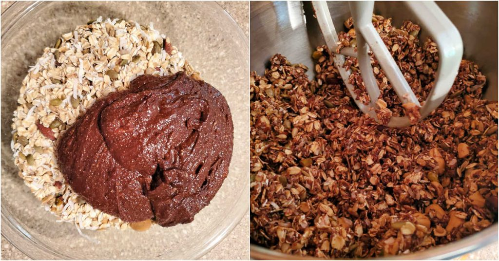 A collage of 2 images showing dry and wet ingredients together in a bowl and then mixed well in a mixer bowl.