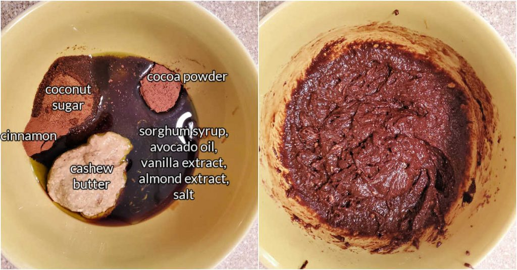 """A collage of two images: one of all the ingredients for making the """"goo"""" for the granola with text overlay, and another of them all mixed together."""
