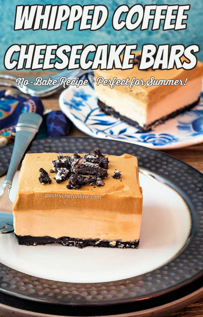 """2 plated slices of no bake coffee cheesecake bars on plates with forks. Text overlay reads, """"whipped coffee cheesecake bars. No bake recipe. Perfect for summer."""""""