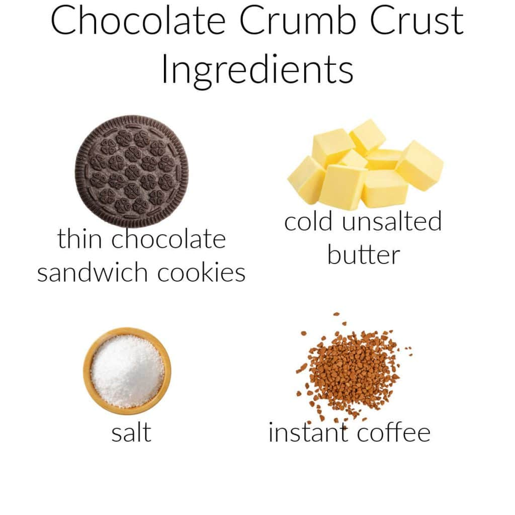 A collage of the ingredients needed for making the cookie crust for coffee cheesecake bars.