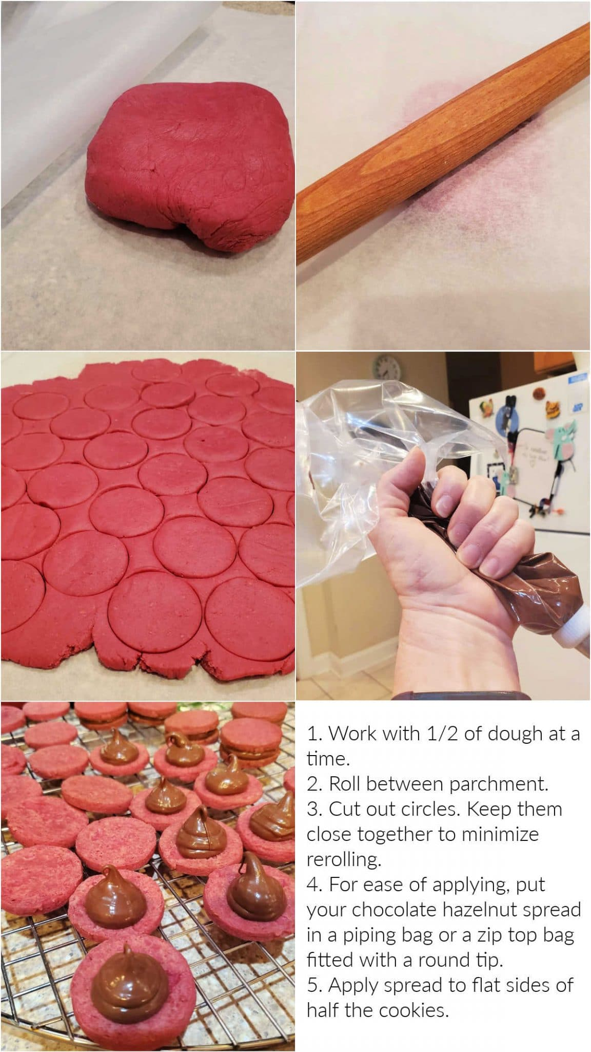 Collage of 5 images showing rolling out dough, cutting the cookies, and piping on the filling with text overlay.