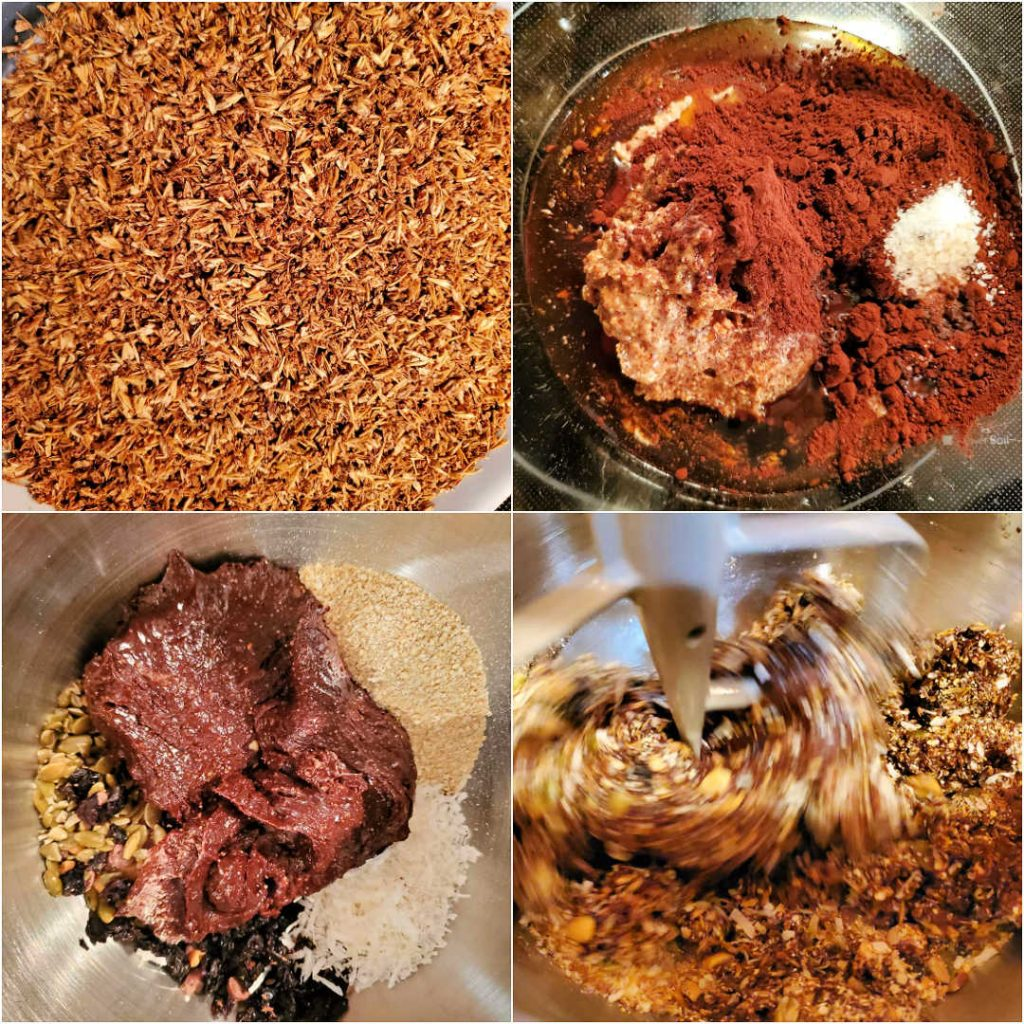 Collage of four images showing dried spent grains, the wet ingredients for the granola, the wet ingredients on top of the dry ingredients, and all the ingredients getting mixed in a stand mixer.