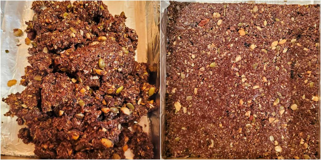 Two images, side by side, one of the granola mix spread in the pan, and the other with the mix packed down tightly into no-bake bars.