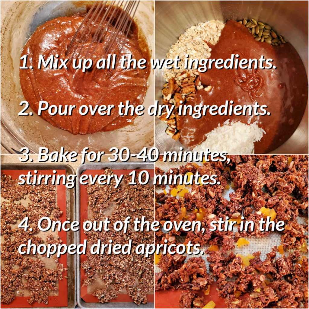 Collage of 4 images showing how to mix and bake granola with text overlay of the explanation.