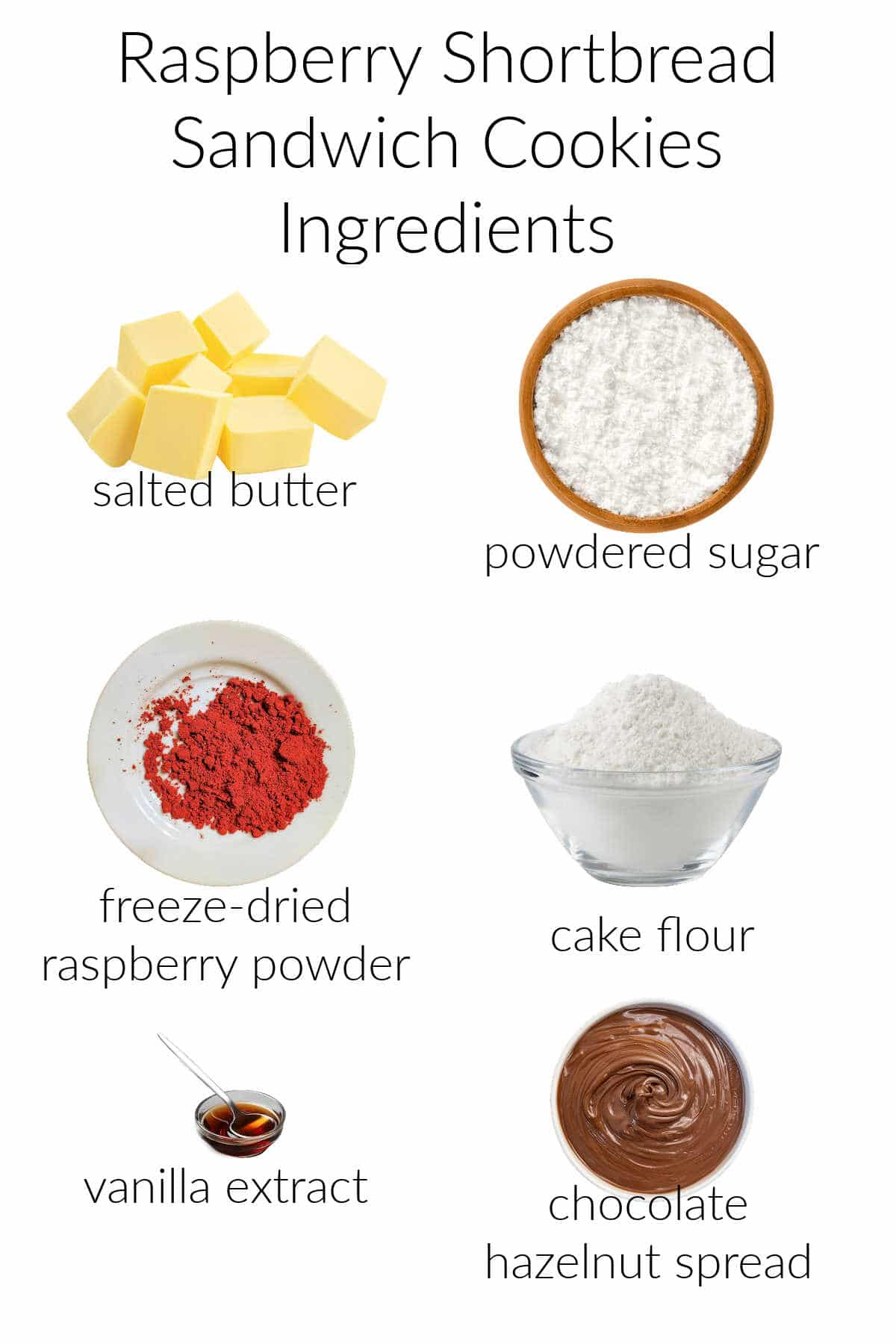 Collage of the 6 ingredients needed to make raspberry shortbread sandwich cookies with text overlay.