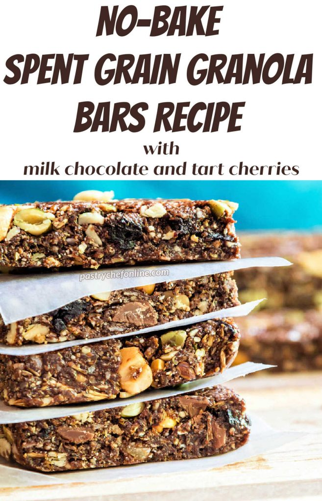 """A stack for four chocolate granola bars. Text reads """"no-bake spent grain granola bars recipe with milk chocolate and tart cherries."""""""
