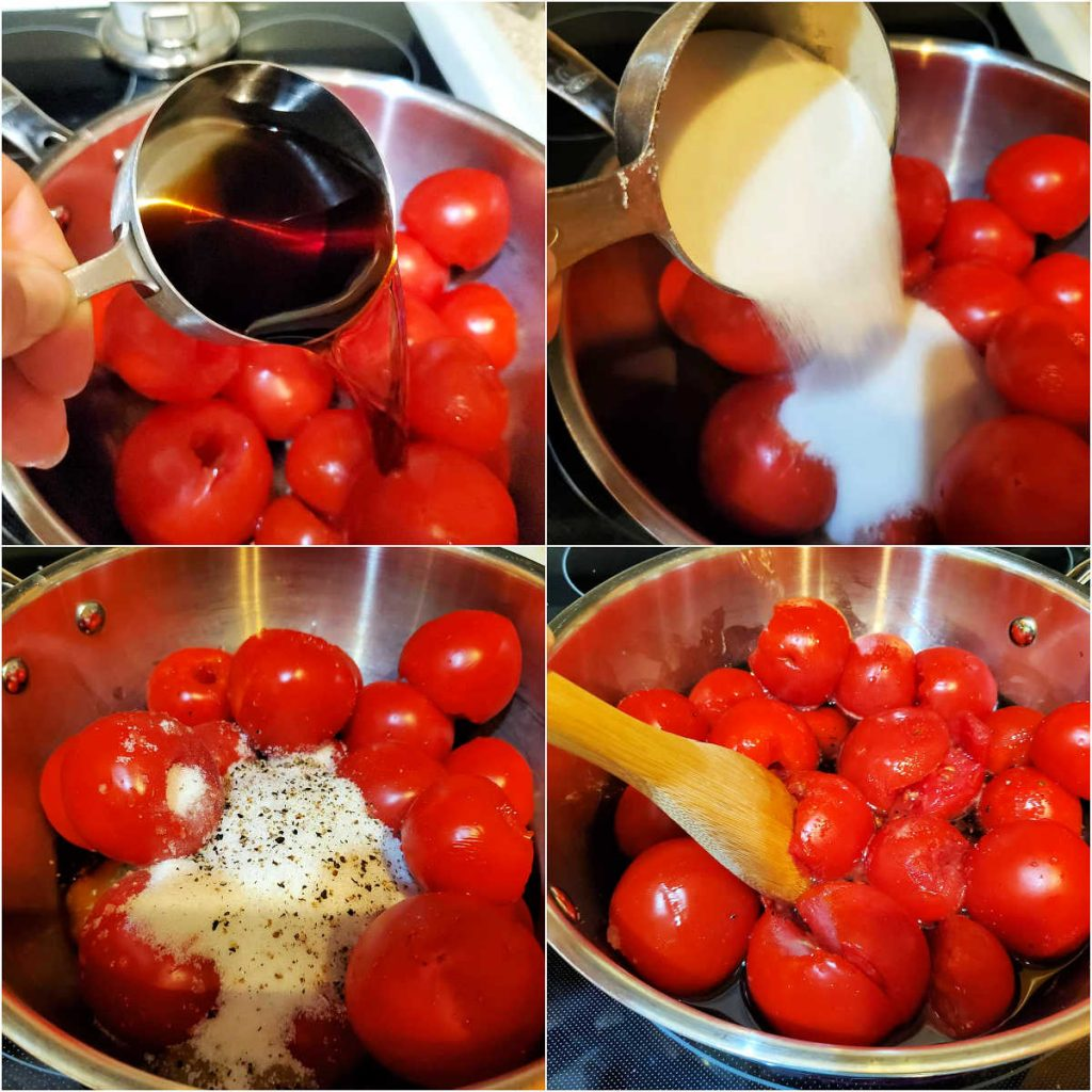 A collage of 4 images showing adding sugar, salt and pepper, and vinegar to a pot of cored whole tomatoes.