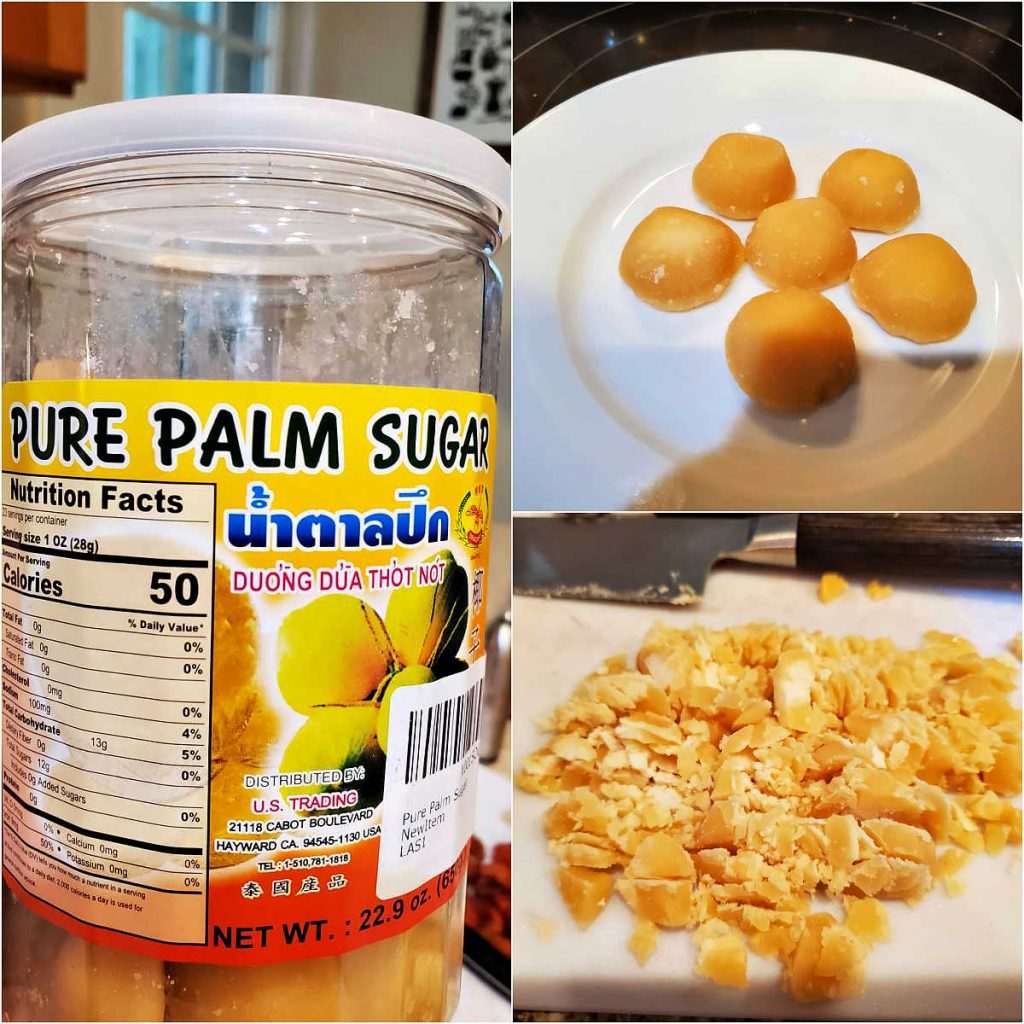 A collage of 3 images, one of a plastic jar of discs of palm sugar, one with 6 of the discs arranged on a white plate, and the third with the palm sugar chopped into small pieces.
