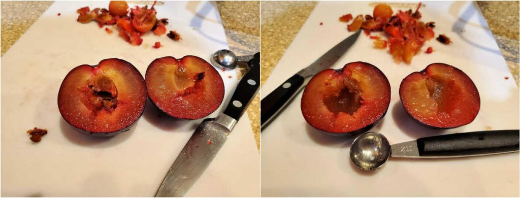 A collage of 2 images showing plums cut in half, one with the pit in it, and one with the pit removed with a melon baller.