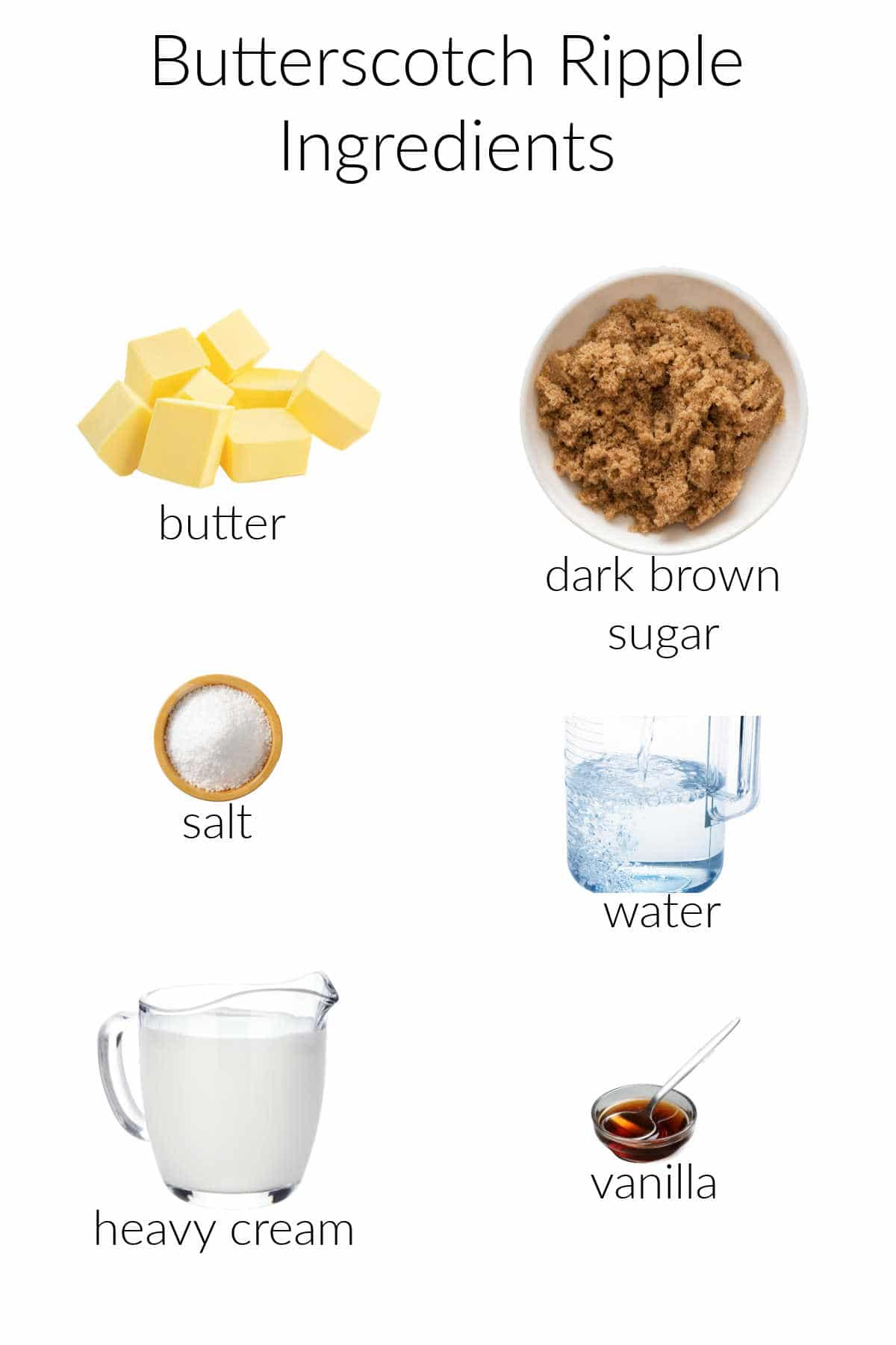 A collage of the six ingredients needed to make butterscotch ripple: butter, brown sugar, salt, water, heavy cream, and vanilla.