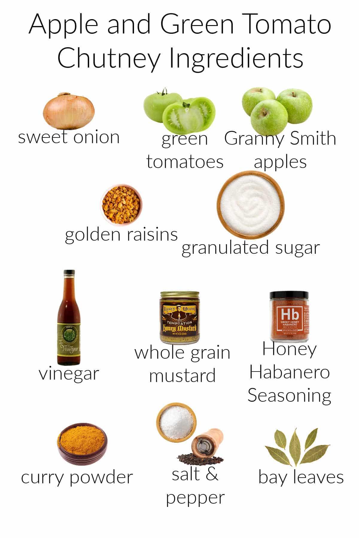 Collage of ingredients for making apple green tomato chutney: onions, green tomatoes, green apples, golden raisins, sugar, vinegar, mustard, honey habanero seasoning, curry powder, salt & pepper, and bay leaf.