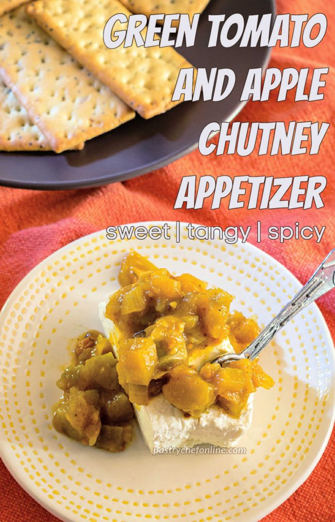 """Cream cheese and chutney on a plate. Text overlay reads, """"Green tomato and apple chutney appetizer. Sweet, tangy, spicy."""""""