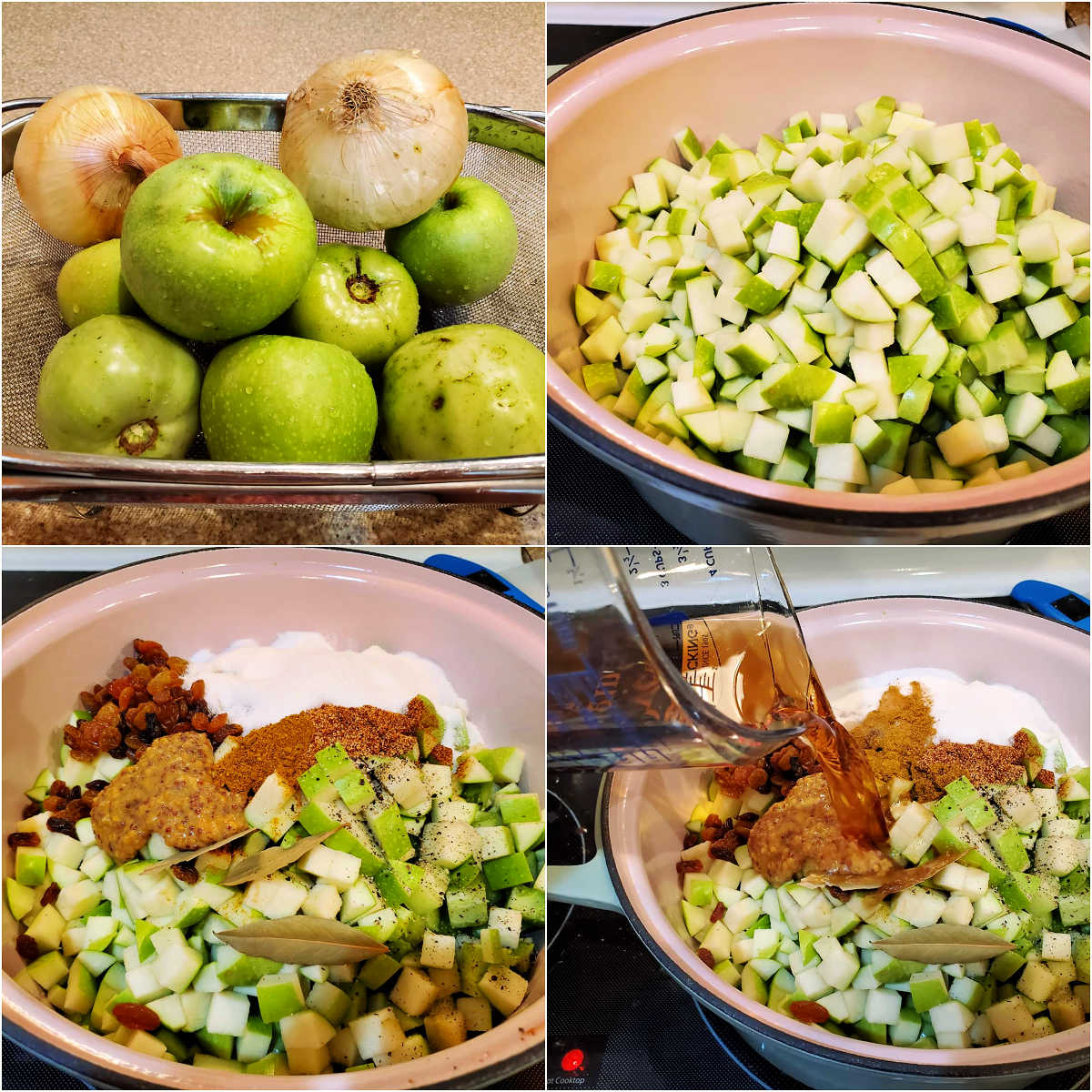 A collage of 4 images: whole apples, tomatoes, and onions, the fruits and vegetables diced in a large pot, all the spices and flavorings on top of the apples and onions, and pouring in the vinegar and the water.