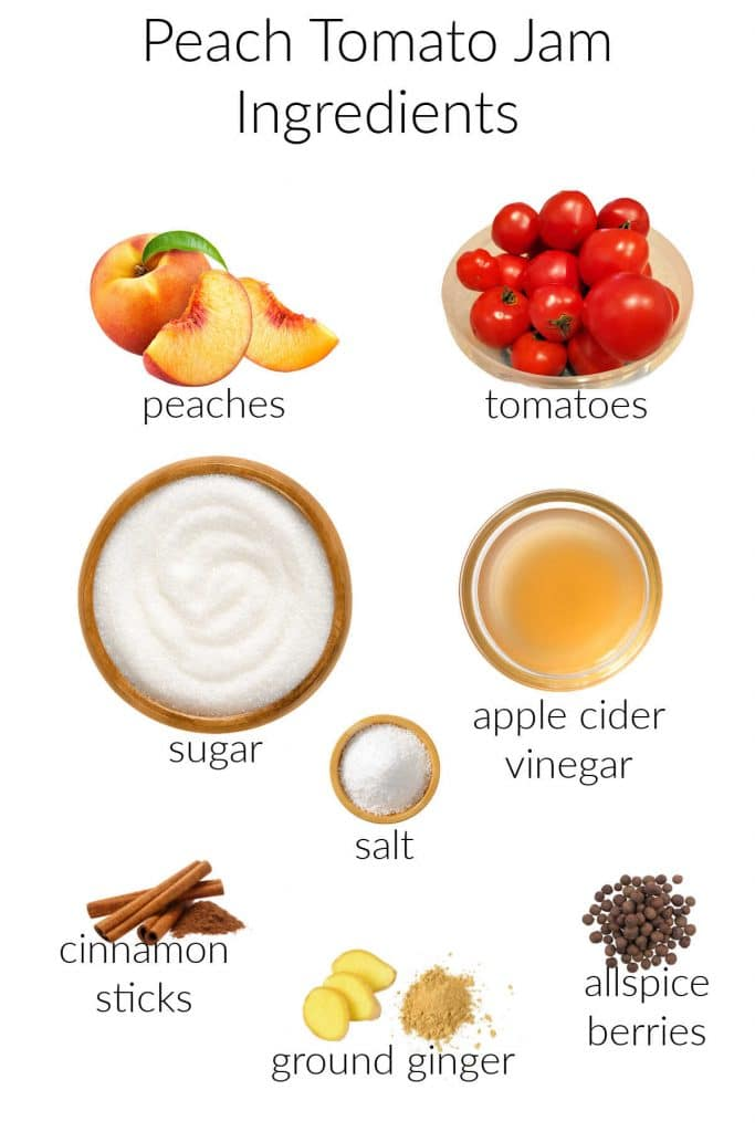 A collage of all the ingredients needed to make this jam: peaches, tomatoes, sugar, apple cider vinegar, salt, cinnamon, ginger, and allspice.